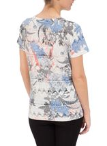 Anna Rose Burn Out Print Top Cobalt/Raspberry - Gallery Image 3