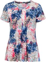 Anna Rose Short Sleeve Floral Print Top Cobalt/Raspberry - Gallery Image 1