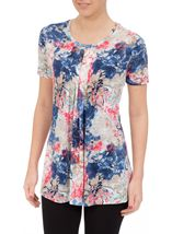 Anna Rose Short Sleeve Floral Print Top Cobalt/Raspberry - Gallery Image 2