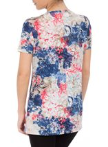 Anna Rose Short Sleeve Floral Print Top Cobalt/Raspberry - Gallery Image 3