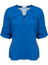 Anna Rose Turn Sleeve Top Cobalt - Gallery Image 1