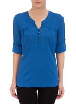Anna Rose Turn Sleeve Top Cobalt - Gallery Image 2