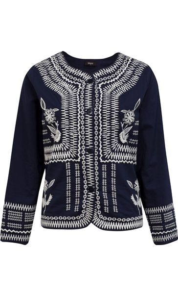 Embroidered Cotton Button Jacket Navy