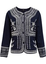 Embroidered Cotton Button Jacket Navy - Gallery Image 1