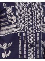 Embroidered Cotton Button Jacket Navy - Gallery Image 4