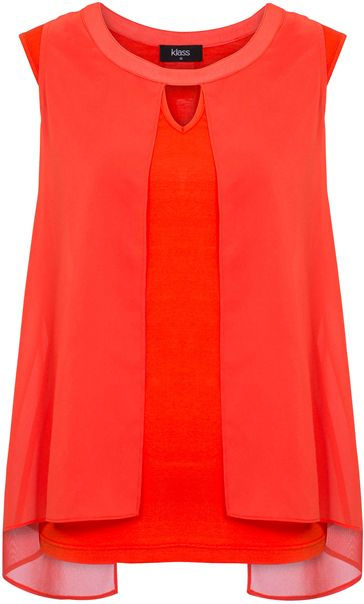 Sleeveless Jersey And Georgette Layered Top Orange