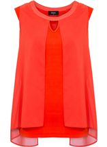 Sleeveless Jersey And Georgette Layered Top Orange - Gallery Image 1