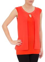 Sleeveless Jersey And Georgette Layered Top Orange - Gallery Image 2