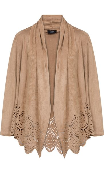 Long Sleeve Suedette Laser Cut Open Cardigan Taupe