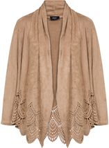 Long Sleeve Suedette Laser Cut Open Cardigan Taupe - Gallery Image 1
