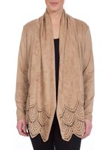 Long Sleeve Suedette Laser Cut Open Cardigan Taupe - Gallery Image 2