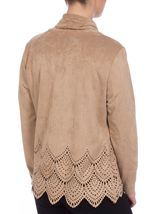 Long Sleeve Suedette Laser Cut Open Cardigan Taupe - Gallery Image 3