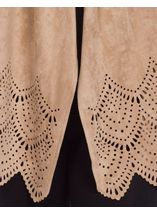 Long Sleeve Suedette Laser Cut Open Cardigan Taupe - Gallery Image 4