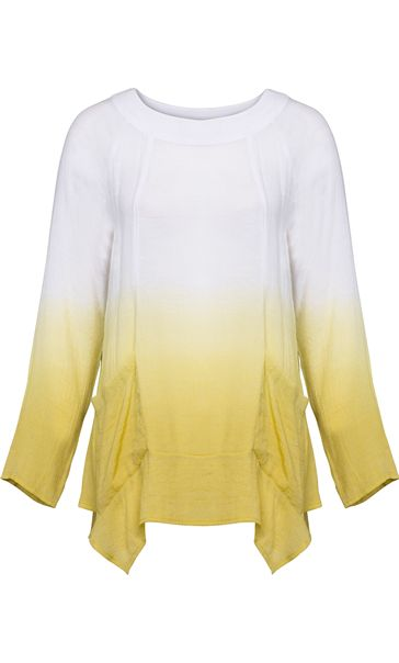 Long Sleeve Dip Dye Tunic Lime/White