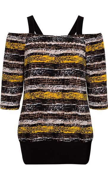 Printed Three Quarter Sleeve Cold Shoulder Top Brown/Yellow