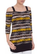 Printed Three Quarter Sleeve Cold Shoulder Top Brown/Yellow - Gallery Image 2