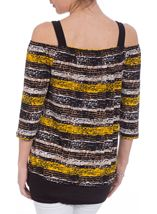 Printed Three Quarter Sleeve Cold Shoulder Top Brown/Yellow - Gallery Image 3
