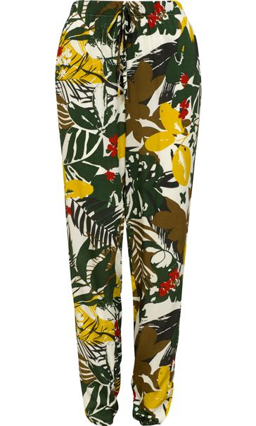 Bold Floral Printed Elasticated Waist Trousers Khaki/Lime