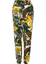 Bold Floral Printed Elasticated Waist Trousers Khaki/Lime - Gallery Image 1