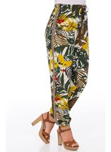 Bold Floral Printed Elasticated Waist Trousers Khaki/Lime - Gallery Image 2