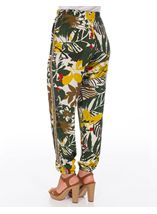 Bold Floral Printed Elasticated Waist Trousers Khaki/Lime - Gallery Image 3