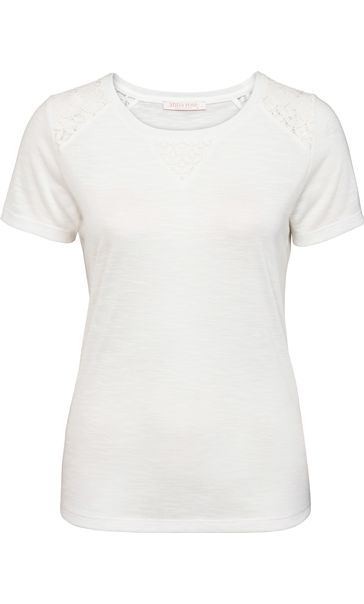 Anna Rose Crochet Trim Short Sleeve Top Ivory