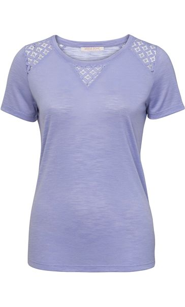 Anna Rose Crochet Trim Short Sleeve Top Lavender