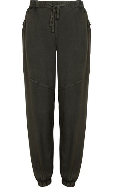 Elasticated Waist Lightweight Trousers Khaki