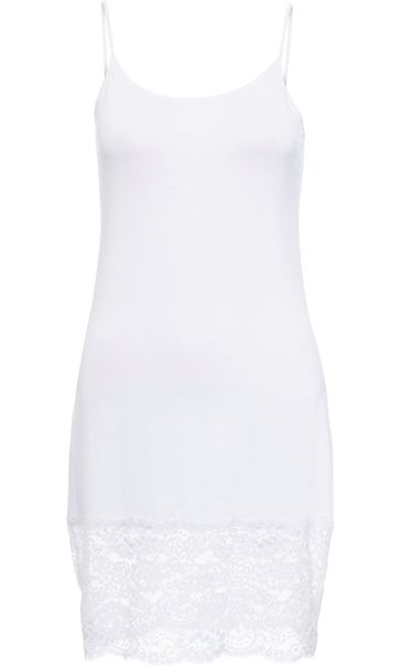 Longline Lace Hem Strappy Top White
