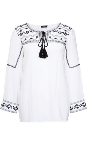 3b33bdd48db839 WHITE/BLACK Embroidered Long Sleeve Peasant Top -
