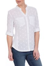 Turn Sleeve Textured Cotton Blouse White - Gallery Image 2