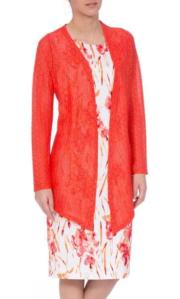 Anna Rose Long Sleeve Open Cover Up Coral Rose