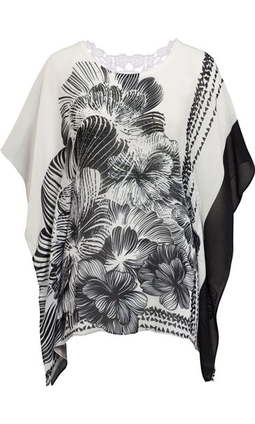 Embellished Print Georgette Kimono Top Black/White