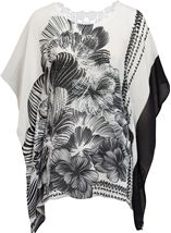 Embellished Print Georgette Kimono Top Black/White - Gallery Image 1