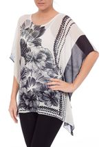 Embellished Print Georgette Kimono Top Black/White - Gallery Image 2