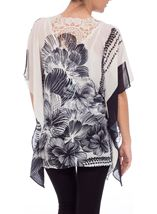 Embellished Print Georgette Kimono Top Black/White - Gallery Image 3