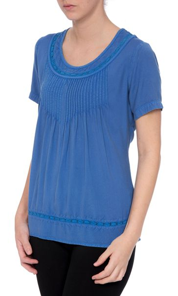 Anna Rose Short Sleeve Washed Top Cobalt