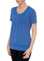 Anna Rose Short Sleeve Washed Top Cobalt - Gallery Image 1