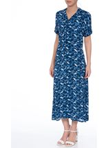Anna Rose Printed Button Fastening Dress Cobalt/White - Gallery Image 2