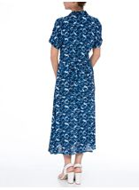 Anna Rose Printed Button Fastening Dress Cobalt/White - Gallery Image 3