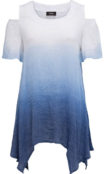 Cold Shoulder Ombre Crinkle Tunic Coulis/Cashew