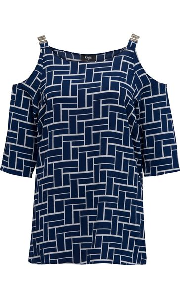 Tile Printed Cold Shoulder Top Navy/Ivory