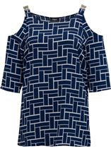 Tile Printed Cold Shoulder Top Navy/Ivory - Gallery Image 1