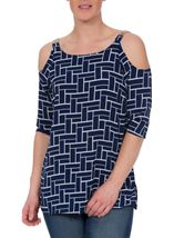 Tile Printed Cold Shoulder Top Navy/Ivory - Gallery Image 2