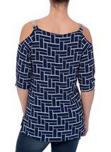 Tile Printed Cold Shoulder Top Navy/Ivory - Gallery Image 3