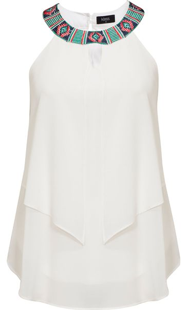 Embroidered Sleeveless Layered Georgette Top Ivory