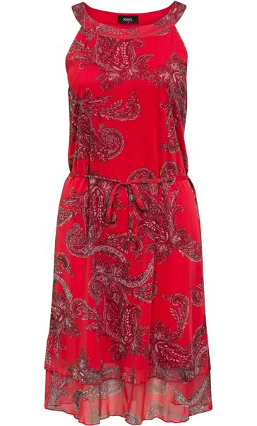 cf247d277ff STRAWBERRY Printed Sleeveless Chiffon Midi Dress -