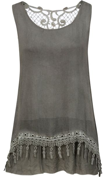 Sleeveless Layered Lace Trim Top Green
