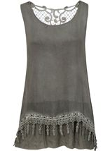 Sleeveless Layered Lace Trim Top Green - Gallery Image 1