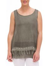 Sleeveless Layered Lace Trim Top Green - Gallery Image 2